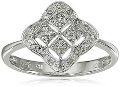 10k White Gold Clover Square Diamond…
