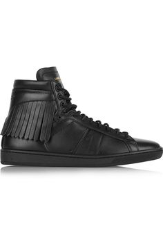 Saint Laurent - Fringed leather high-top sneakers 8ba1bb1f456