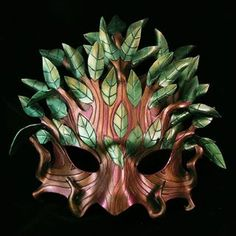 Green man mask made of leather