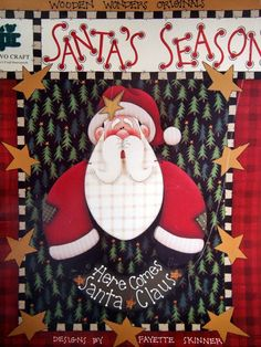 Santa's Season By Fayette Skinner Tole And Decorative Painting Book 1996 Christmas Yard Art, Christmas Books, Primitive Christmas, Christmas Crafts, Christmas Ideas, Christmas Ornaments, Tole Painting Patterns, Painted Patterns, Wood Patterns