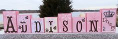 A beautiful set of Custom Wooden Name Blocks M2M Daniella by Cocalo Nursery Bedding Set.