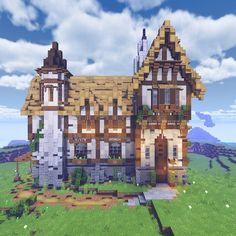 The Medieval Mansion. : Minecraftbuilds Casa Medieval Minecraft, Minecraft Farm, Minecraft Mansion, Minecraft Cottage, Minecraft Castle, Cute Minecraft Houses, Minecraft Plans, Minecraft House Designs, Minecraft Construction