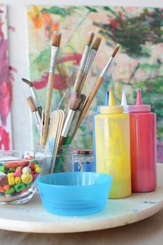 Reggio Inspired Invitation to paint and create with toddlers