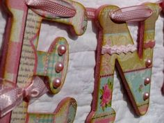 name garland with sparkle Mod Podge!!