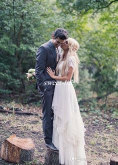 Western Country Wedding Dresses A-Line with Short Sleeve Jewel Lace Floor Length Chiffon Vintage 2016 Boho Garden Beach Wedding Bridal Gowns Online with $118.72/Piece on Sweet-life's Store | DHgate.com