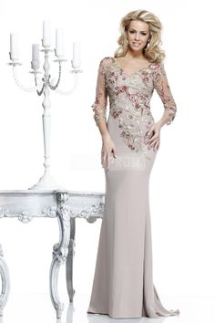 Trumpet V-neck Chiffon,lace Prom Dress