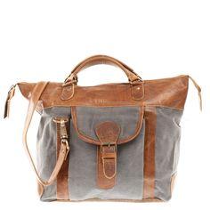 LECONI Henkeltasche Schultertasche Damentasche Canvas Leder grau LE0043