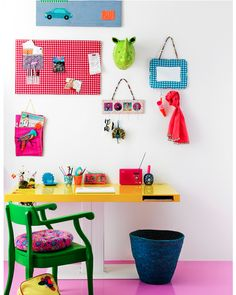 Work station-green chair, yellow desk & pink floor, oh my! Kids Desk Space, Kids Workspace, Office Decor, Home Office, Yellow Desk, Ideas Para Organizar, Kids Decor, Home Decor, Home Living