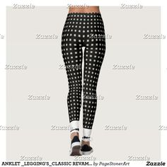 ANKLET _LEGGING'S_CLASSIC REVAMPED-XS-TO–XL_ LEGGINGS - $63.30 Made by Art of Where CUFFED-CUTE-CLASSIC REVAMPED-Classic Black & White squares_Add a tank or white oxford loose shirt & the look is timeless.CUFFED_LOOK_CLASSIC-BACK ANKLET...
