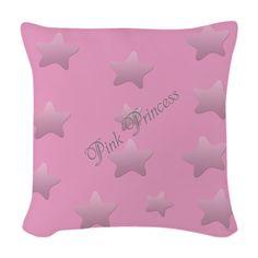 Cute Pink Princess Silver Star Pattern Woven Throw Pillow #pink #princess #pillow #star #starwear