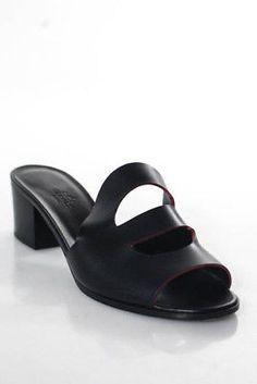 Hermes  Black Calfskin Jasper Stacked Heel Mona Sandals Size 40 10