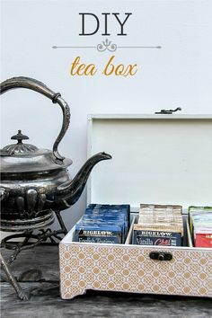 DIY tea storage box I have so many kinds of teas and tea boxes that this would definitely simplify things! Tea Station, Tea Storage, Diy Organization, Organizing, My Tea, Crafty Craft, Diy Gifts, Tea Time, Tea Party
