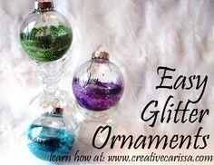 Super Easy Glittered Bulb Ornaments