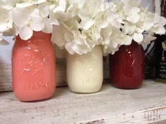 Painted Coral, White, and Red Mason Jars. Perfect for Gifts, Home Decorations, and Weddings.