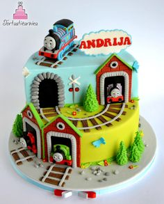 Tomas the train cake - Cake by Nataša Thomas Birthday Cakes, Thomas Birthday Parties, Thomas Cakes, Thomas The Train Birthday Party, Thomas The Train Cakes, Train Party, Train Birthday Cakes, 2nd Birthday, Pirate Party