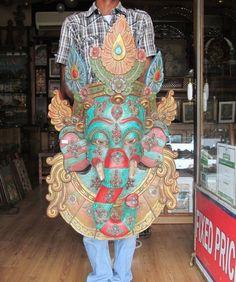Wood Carved Big Tribal Elephant God Ganesh Head Mask Wall Statue Figurine 2451 #unknown