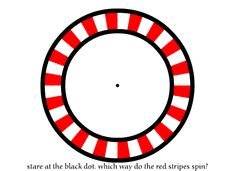 Stare At The Dot. Which Way Do The Red Stripes Spin? - http://www.moillusions.com/stare-at-dot-which-way-do-red-stripes/