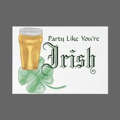 Beer & Shamrock Initves (Front) Pencil Sketch - Colourized Show your Irish Pride with this Hand-Drawn Beer and Shamrock. This sketch is available on most of zazzles customizable products.