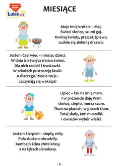 Wierszyki miesiące cz.2 » Uczę się - Ćwiczenia - Domowy Przedszkolak Creative Activities, Activities For Kids, Montessori, Aa School, Polish Language, Primary Teaching, Kids Logo, Working With Children, Raising Kids