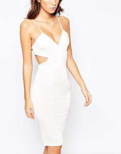 Image 3 of NaaNaa Cross Front Body-Conscious Midi Dress With Cut Out Back