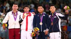 Judo medallists pose during Victory Ceremony 2012 Summer Olympics, London Photos, Judo, Olympic Games, Victorious, The Man, Georgia, Athlete, Korea