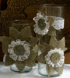 Burlap wedding centerpiece Candle and flower vase by Bannerbanquet, $25.00