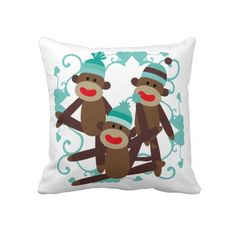 Boy Sock Monkeys Pillow Click on photo to purchase. Check out all current coupon offers and save! http://www.zazzle.com/coupons?rf=238785193994622463&tc=pin