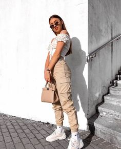 High Waist Cargo Pants - LePastell Concealed fly with button fastening Functional pockets Cargo design Fitted cuffs Tapered leg Regular cut Fits you just right. SEE DETAILS Jogger Outfit, Cargo Pants Outfit, Cargo Pants Women, Pants For Women, Clothes For Women, Beige Pants Outfit, Army Pants, Blue Pants, White Pants