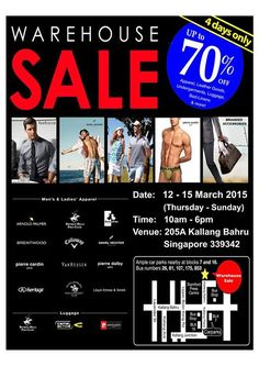 YG Warehouse Sale is back again offering up to 70% off international brands from USA, Paris and UK, with products such as men's and ladies' apparel, leather accessories, luggage, bed linens & many more! Promotional prices start from $1, hurry, while stocks last!   Date: 12 - 15 March 2015 Time: 10am - 6pm Venue: 205A Kallang Bahru S339342 #bigsale #discount #deals #saledepot