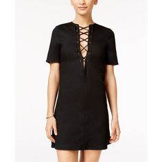 Material Girl Juniors' Lace-Up Shift Dress, ($60) ❤ liked on Polyvore featuring dresses, caviar black, material girl, cocktail party dress, lace front dress, night out dresses and shift dresses