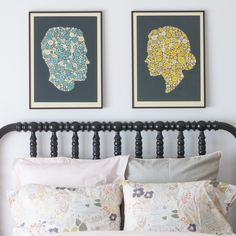 Could DIY something like this: Silhouette art with patterns rather than solid black.