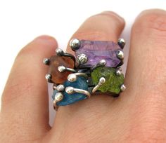 rough #gemstone stackable #rings with #amethyst #peridot #apatite and #fluorite $199