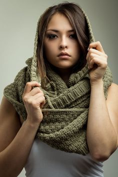 Don't you just love that this scarf can be pulled up to cover your head also!.....Infinity Scarf Chunky Waffle Knit...