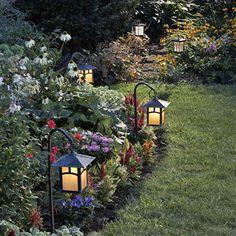 small lanterns in the garden