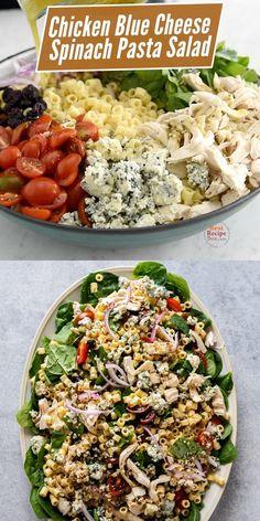 Blue Cheese Pasta, Blue Cheese Chicken, Blue Cheese Recipes, Blue Cheese Salad, Spinach Recipes, Pasta Salad With Spinach, Chicken Spinach Pasta, Easy Pasta Salad Recipe, Chicken Salad