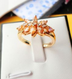 Fashion jewelry 18k Yellow gold Plated crystal ring new gift for lady