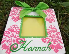 Picture Frame Damask Design Pink Nursery Baby by PatonLaneDesigns, $32.00