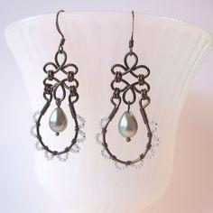 Lacy Beaded Wire Work Earrings - Bronze Wirework - Sage Green Teardrop Pearls - Wire Clovers - Pearl Charlottes