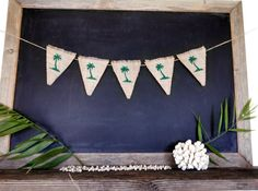 Palm Tree Burlap Banner Tropical Beach Bunting Nautical Triangle Pennant Flag Summer Party Sign on Etsy by Sweet Thymes