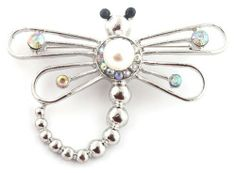 Ladies Silver Dragonfly Style Brooch Pin Pendant with Pearl and Rhinestones JOTW. $0.01. Great Quality Jewelry!. This brooch and pin pendant measures 2.75 inches from left to right and 2 inch from top to bottom.. 100% Satisfaction Guaranteed!