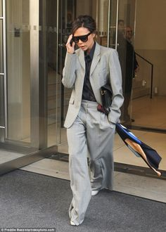 Victoria Beckham channels androgynous chic in wide-leg trouser suit - May 2017 #dailymail