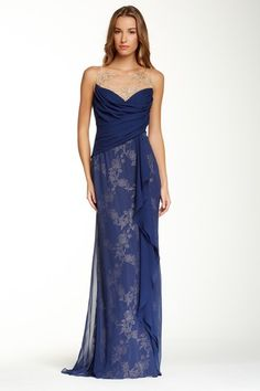 6d428b8a9f Image of Marchesa Notte Notte Embroidered Floral Silk Gown Silk Gown