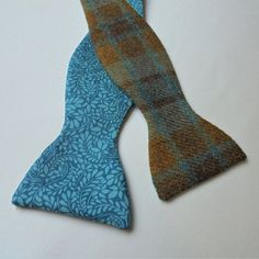 7389bf788b07 Blue/Mustard/Turquoise Check Wool Tweed self tie bow tie with Liberty Tana  Lawn lining.