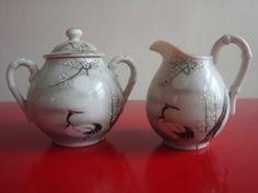 Vintage Oriental Design China Cream and Sugar Set