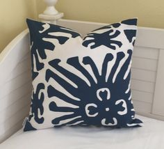 Quadrille China Seas Sigourney Suncloth in Navy and White Indoor Outdoor Designer Pillow Cover - Square, Euro or Lumbar Sizes