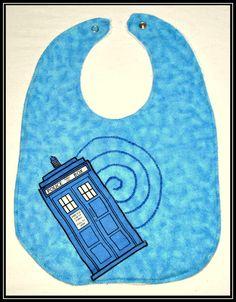 Doctor Who Tardis Bib with White Terry Cloth