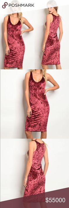 🆕COMING🔜 🎄Wine Velvet Dress🎄 Wine crushed velvet dress Perfect for holiday parties 🥂 95% polyester 5% spandex Price will be $55 Like to be notified of arrival Dresses