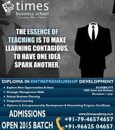 Hurry Up!! Admission open for Diploma in Entrepreneurship Development (DED) 2015 at Times Business School