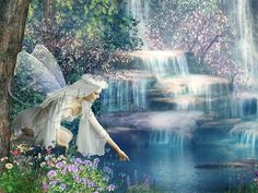 Fairy with the Waterfall Cross Stitch Pattern