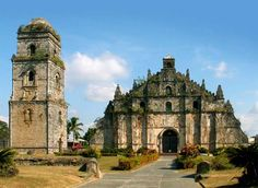 St.Augustine. Philippines The walls of the church are 1.67 meters thick and are supported by 24 carved and massive buttresses. construction started in 1704 and was completed in 1894 by the Augustinian friars led by Fr. Antonio Estavillo. It is said, that Its construction primarily was intended to withstand earthquakes It was damaged by an earthquake in 1706 and 1927. The design of the church is a mixture of Gothic, Oriental and Baroque influence.